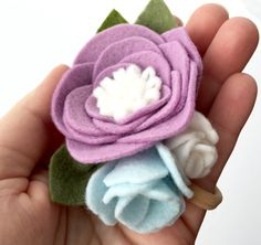 Spring felt flower nylon headband purple felt by TreasuredPeach