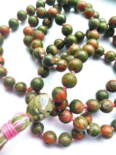 Hey, I found this really awesome Etsy listing at https://www.etsy.com/listing/220677653/heart-chakra-mala-unakite-and-rainforest