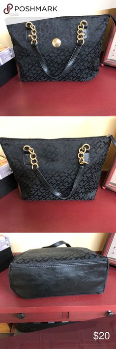 """Tommy Hilfiger Signature Shoulder Tote EUC.  Some wear on the handles, not noticeable.  Very cute.  Measurements: Width 10.5"""" Height 9"""" Depth 4.5"""" Handle Drop 6"""" Tommy Hilfiger Bags Totes"""