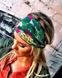 Floral Stretchy Chiffon Headband  Green Flower by ThreeBirdNest, $22.50