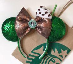 Starbucks Inspired Frappuccino Coffee Minnie Mouse Ears Headband - New Ideas Disney Minnie Mouse Ears, Diy Disney Ears, Disney Diy, Disney Crafts, Cute Disney, Mickey Ears Diy, Micky Ears, Disney Nerd, Disney Ideas