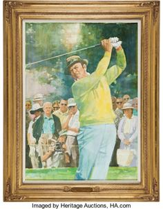 """1999 PGA Tour Lifetime Achievement Award Painting Presented to Sam Snead. """"Dear Sam,"""" begins the letter - Available at 2013 December 6 - 7 Golf. Sam Snead, Golf Art, Lifetime Achievement Award, Oil On Canvas, Awards, Auction, Presents, Tours, December 2013"""