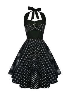 Das Kleid besteht aus 100% leichter Baumwolle.  Am Rücken befindet sich eine Corsagen Schnürung.  Sie lässt sich sehr figurbetont schnüren und passt daher zu mehrere Konfektiosngrössen. Die Neckholder Bindung setzt Ihre Oberweite und den Rücken stilvoll ins Rampenlicht.  Der weite Tellerrock ist ein echter Hingucker und passt ideal zum Petticoat. Die Rocklänge, gemessen ab der Taillennaht bis zum Rocksaum, beträgt ca. 55cm. Ein Schleifenband das farblich zum Kleid passt, wird mitgeliefert.