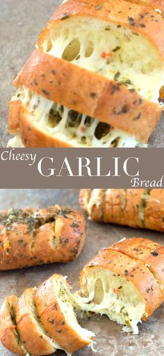 These cheesy garlic breads only take 20 minutes to make. Quick and easy sides for pasta night or pizza night. Use mini French Bread for best results. Cheesy Garlic Bread With Italian Spices - Healing Tomato Recipes Cheesy Garlic Bread, Garlic Cheese, Recipe For Garlic Bread, French Garlic Bread, Healthy Garlic Bread, Homemade Garlic Bread, Homemade Vanilla, Homemade Breads, Italian Spices