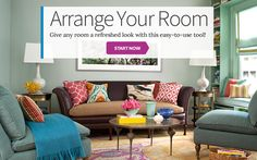 From Better Homes and Gardens, Room Planner lets you arrange your room virtually to see effect. Cool free tool!