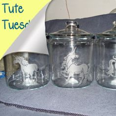 Etched glass canisters