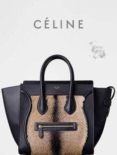 C¨¦line ~ Medium Cabas Phantom With Belt In Brown Goat Fur Fall ...