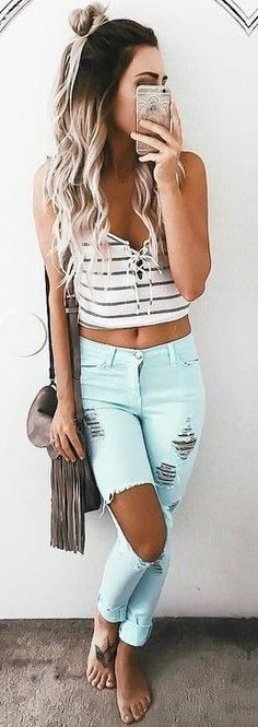 #summer #musthave #outfits | Striped Crop + Mint Denim