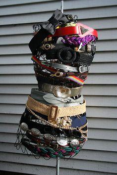 Unique way to display vintage belts