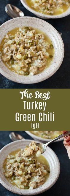The Best Turkey Green Chili – Pins Chili Recipes, Soup Recipes, Bean Recipes, Yummy Recipes, Thanksgiving Recipes, Fall Recipes, Turkey Stew, Best Turkey, Kitchens