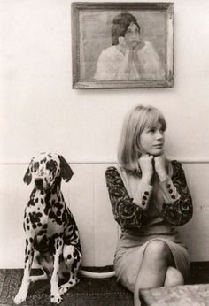 Marianne Faithfull with her pet dalmation, 1964