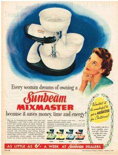 SUNBEAM MIXMASTER AD  RETRO  AUSTRALIAN Vintage Advertising 1957 Original Ad #SUNBEAM