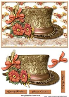 Vintage Hat 2 on Craftsuprint designed by Marijke Kok - Vintage hat with gorgeous flowers in lovely warm color. - Now available for download!
