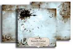 printable digital scrapbook paper 12 x 12 inch slightly grungy butterflies journal paper blue and brown background digital journal