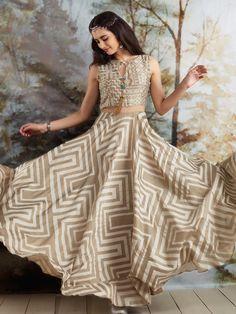 Beige Silk Printed Anarkali Suit