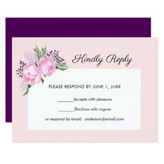 Pink Peonies Watercolor | RSVP Card - invitations personalize custom special event invitation idea style party card cards