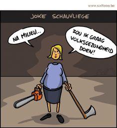 Thema van de cartoon op deze pagina: Joke Schauvliege verknoeit het, ministerie na ministerie, klik op de cartoon om naar de volgende te gaan