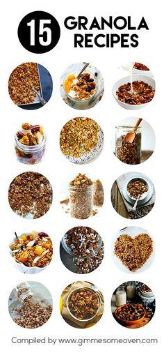 15 Granola Recipes -- a delicious collection of easy homemade granola recipes from food bloggers #granola #recipes