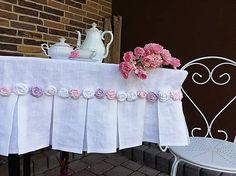 Linen tablecloth by shabby.romantic / Ľanový obrus Shabby Roses