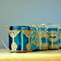Moroccan Lantern Hanging Jar Candle Holder with Teal Glass and Golden Detailing
