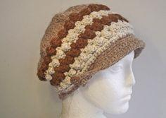 Alpaca Hat, Brown Crochet Peaked Cap, Brown Cream Fawn Handspun Beanie, Alpaca Newsboy Hat, Beanie with Peak, Artisan Handspun Crochet Hat