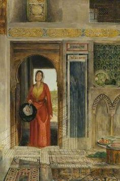 Entrance to a Harem John Frederick Lewis The Higgins Art Gallery & Museum, Bedford Mediterranean Art, Oriental, Islamic Architecture, Art Uk, Arabian Nights, World Cultures, Your Paintings, Egyptian, Art Gallery