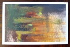 """Abstract Miniature Oil Painting Card """"Stop and Go"""" 5x8 by Judy McSween Burgundy, Orange, Green on Etsy, $20.00"""