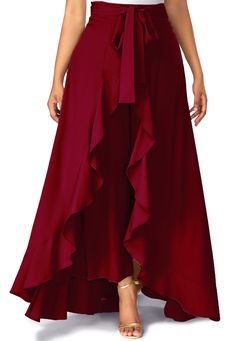 Burgundy High Waist Slimming Pants With Skirt Zipper Side Tie Waist Wine Red Overlay Pants Trousers Women, Pants For Women, Mode Batik, Party Kleidung, Mode Hijab, Flare Skirt, Jumpsuits For Women, Party Wear, Designer Dresses