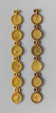 Gold aurei of the Twelve Caesars, Early Imperial/Flavian period, circa 69-96 AD, Roman, gold and amethyst.