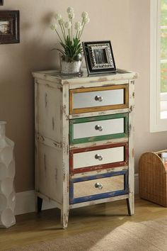 Mirrored Rustic Drawer Chest - Multicolor on Distressed Ivory .....skip the mirrors for me....by Furniture Deals For Every Style on @HauteLook