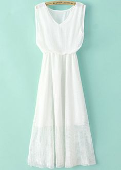 White V Neck Sleeveless Double Layers Gauze Dress pictures