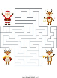 Reindeer Orchestra Maze for Kids. A Christmas orchestra with three cute reindeer , Christmas Mood, Noel Christmas, Christmas Colors, Christmas Worksheets, Christmas Activities For Kids, Mazes For Kids, Childrens Christmas, Montessori Activities, Diy For Kids