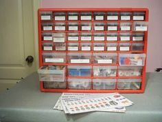I used a screw storage unit for all my cake decorating tips. Using numbers labels, numbering  tips names and sizes.