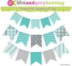 This 3 piece personal & commercial use clipart set includes bunting (banner flags) in solid colors, polka dots, quatrefoil, chevron and stripes. Colors used are blue and gray. Printable Banner, Banner Template, Printables, Happy Birthday Signs, Clipart Design, Bunting Banner, Graphic Design Projects, Embroidery Files, Scrapbook Cards