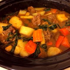 Super Veggie Beef Stew from Slow Cooker Revolution America's Test Kitchen, pg. 60; best smelling dish I've ever cooked in a crockpot.. the kale, carrots, parsnips, onions, potatoes, garlic, and beef were amazing together!