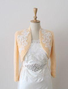 Peachy Bridesmaids or Bridal Bolero Wedding by crochetbutterfly
