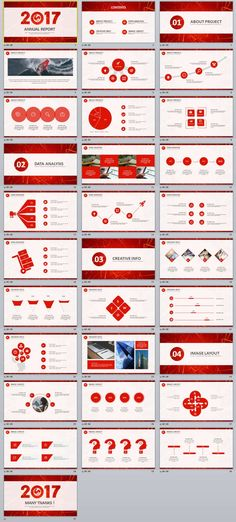 2in1+ RedBlue creative business chart report PowerPoint templates - business report templates