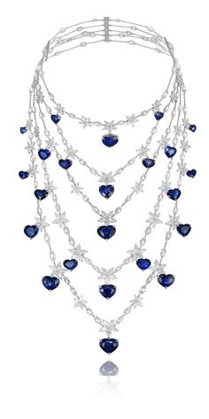 Chopard five-row necklace with a variation of shaped diamonds and heart-cut sapphires.