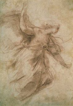 Annibale Carracci, (Italian) - Study of an Annunciating Angel, c 1600, chalk on paper