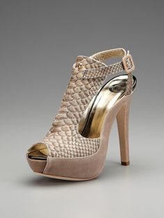 Snakeskin Embossed Suede High Heel Sandal by Just Cavalli on Gilt.com