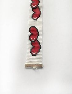 Heart Beaded Bracelet Loomed Seed Bead Bracelet Wide Cuff