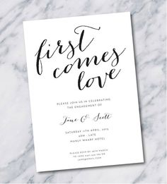 simple, elegant engagement party invitation in black and white @myweddingdotcom