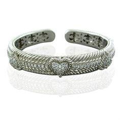 Judith Ripka Bracelets Diamonique Sterling Silver Cz Heart Cuff Bracelet