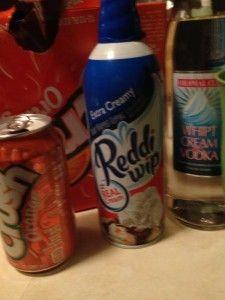 Orange Dreamsicle 2oz vanilla vodka 1/2 can orange crush soda Whipped cream  Stir vodka & orange crush in glass over ice, top with whipped cream