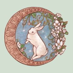 Choestoe- White rabbit in floral moon