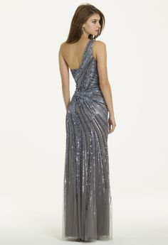 One Shoulder Beaded Mesh Sunburst Dress from Camille La Vie and Group USA