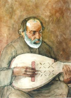 """Stefan Luchian - """"Mos Nicolae Cobzaru"""" (Old Nicolae the Lute Player) Romania Music Pictures, Contemporary Paintings, Art Gallery, History, Country Living, Masters, Musicians, Ethnic, Guitar"""