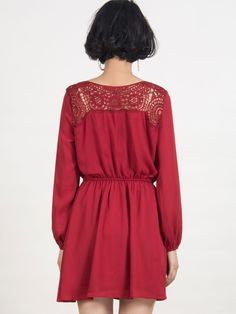 Red V-neck Crochet Long Sleeve Plain Chiffon Dress