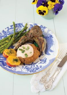 Lamb Chops with Rosemary and Garlic, Asparagus and Sherried Tomatoes. #brunch #recipes