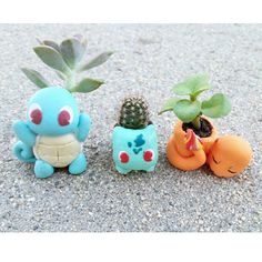 Kawaii pokemon succulent and small plant holder bulbasaur charmander squirtle (35.00 USD) by Mimiatures